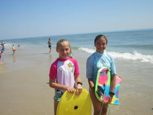 "The ""boogie boarders"" Natalie & Nicole"