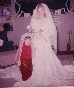 MM in Mom's wedding dress with Ce 1959