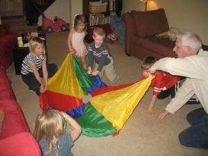 Crick & grandkids & parachute