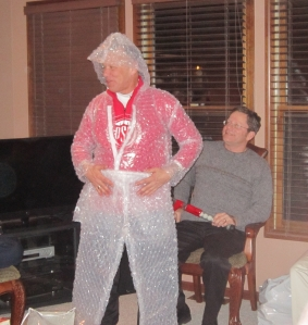 "Bobby ""chose"" the bubble wrap suit!  LOL"