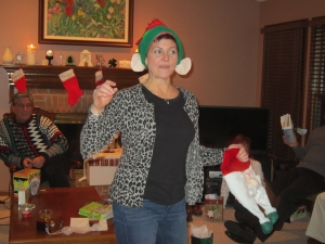 Christine looked the best in the Christmas hats