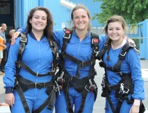 "Annie, Erin & Maddie before they prepare to ""crash-dive"""